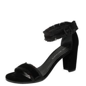 Stuart Weitzman Black Velvet Frayed Ankle Strap Block Heel Sandals Size 40