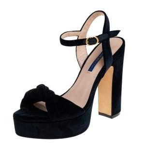 Stuart Weitzman Navy Blue Velvet Mirri Platform Sandals Size 38