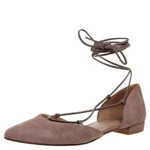 Stuart Weitzman Beige Suede Gilligan D'orsay Ankle Wrap Flats Size 38.5