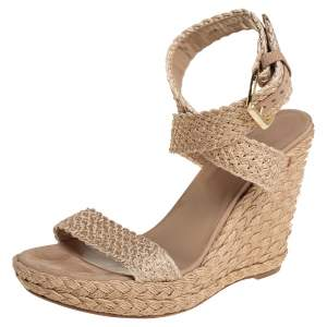 Stuart Weitzman Beige Braided Jute Wedge Sandals Size 41.5