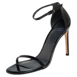 Stuart Weitzman Black Patent Leather Nudistsong 105 Sandals Size 39.5