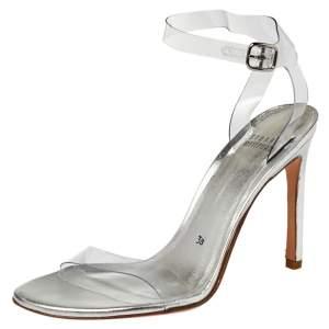 Stuart Weitzman Silver PVC Ankle Strap Sandals Size 38