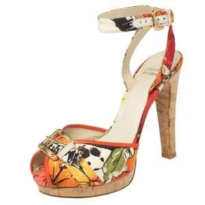 Stuart Weitzman Multicolor Floral Print Canvas And Leather Ankle Strap Sandals Size 37.5