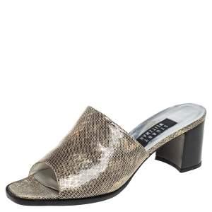 Stuart Weitzman Gold Leather Slide Sandals Size 38.5
