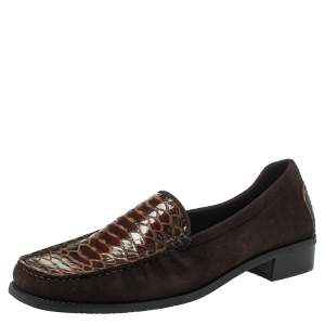 Stuart Weitzman Brown Suede  And Python Embossed Leather Loafers Size 41