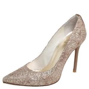 Stuart Weitzman Gold Glitter Pointed Toe Pumps Size 35