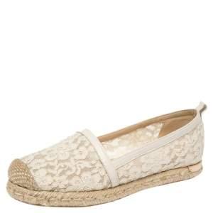 Stuart Weitzman Off-white Lace And Leather Trim Meshuga Espadrille Flats Size 35