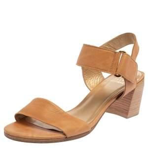 Stuart Weitzman Tan Leather Ankle Strap Sandals Size 38