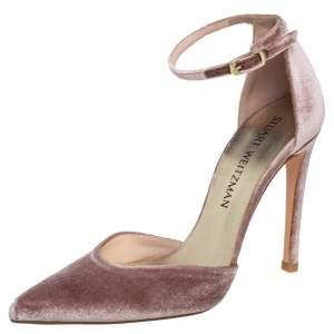 Stuart Weitzman Pink Velvet  Ankle Strap Sandals Size 36