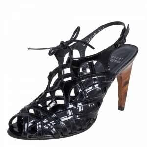 Stuart Weitzman Black Patent Leather Cage Sandals Size 36.5