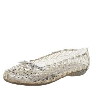 Stuart Weitzman Silver Foil Leather And Crystal Embellished Jelly Laser Cutout Ballet Flats Size 41