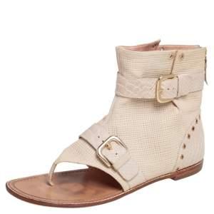Stuart Weitzman Beige Leather Buckle Detail Cutout Ankle Thong Flats Size 41