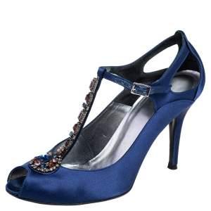 Stuart Weitzman Blue Satin Crystal Embellished T Strap Peep Toe Sandals Size 39