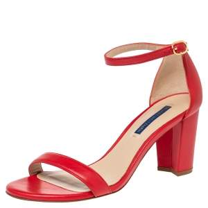 Stuart Weitzman Red  Leather Open Toe Ankle Strap Sandals Size 38