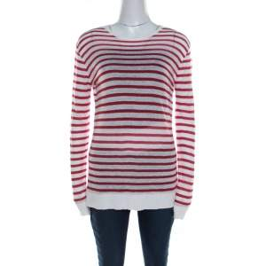 T by Alexander Wang Red Striped Linen Blend Jersey Long Sleeve Top XS