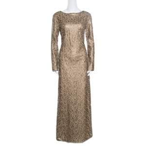 فستان سهرة تداشي شوجي ليثريت ذهبي مطرز تفريغات ليزر بأكمام طويلة رقبة سابرينا M
