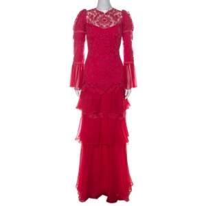 Tadashi Shoji Pink Chiffon & Lace Tiered Moreau Gown L