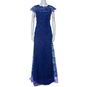 Tadashi Shoji Midnight Blue Lace Cap Sleeve Milien Evening Dress L