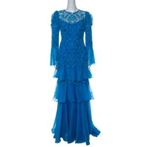 Tadashi Shoji Cerulean Blue Corded Embroidered Tulle Tiered Moreau Gown L