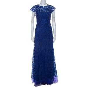 Tadashi Shoji Royal Blue Lace Cap Sleeve Milien Evening Gown L