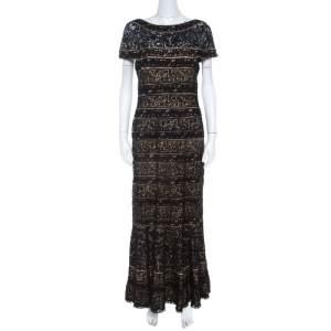 فستان تداشئ شوجي دانتيل أسود طبقة شفافة M