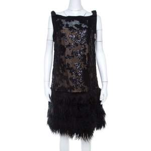 Tadashi Shoji Black Sequined Drop Waist Feather Dress L