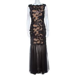Tadashi Shoji  Black Lace and Tulle Floral Sequin Embellished Gown M