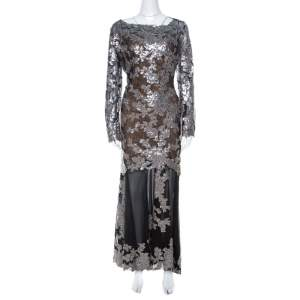 Tadashi Shoji Black Sequin Embellished Lace Evening Gown XL
