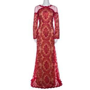 Tadashi Shoji Red Metallic Cord Embroidered Cold Shoulder Illusion Inset Tulle Gown L