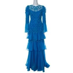 Tadashi Shoji Blue Chiffon and Lace Tiered Moreau Gown M