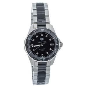 Tag Heuer Black Diamonds Stainless Steel Ceramic Aquaracer WAY131C Women's Wristwatch 35 MM