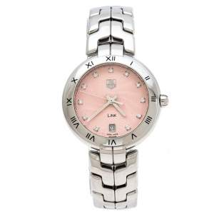 ساعة يد نسائية تاغ هيوير لينك WAT1313 ألماس وستانلس ستيل وردية 34.50 مم