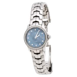 Tag Heuer Blue Mother of Pearl Stainless Steel Diamond Link Women's Wristwatch 23 MM