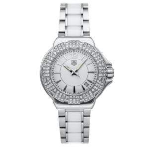 Tag Heuer White Diamonds Ceramic And Stainless Steel Formula 1 WAH1215.BA0861 Women's Wristwatch 37 MM