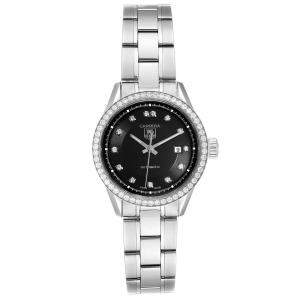 ساعة يد نسائية تاغ هيوير كاريرا WV2412 ستانلس ستيل ألماس سوداء 27 مم