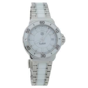 """ساعة يد نسائية تاغ هيوير """"فورميولا 1 دبليو ايه أتش1211"""" ستانلس ستيل و سيراميك أبيض 34 مم"""