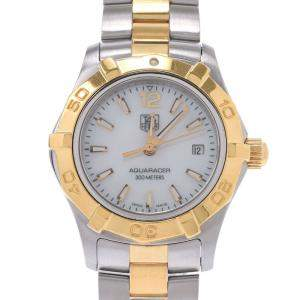 Tag Heuer Silver Gold Plated Stainless Steel Aqua Racer WAF1424.BB0814 Women's Wristwatch 27 MM