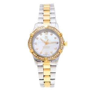 Tag Heuer Mother Of Pearl Two-Tone Stainless Steel Diamond Aquaracer WAF1350.BB0820 Women's Wristwatch 33 mm