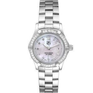 Tag Heuer MOP Diamonds Stainless Steel Aquaracer WAF1416 Women's Wristwatch 27 MM