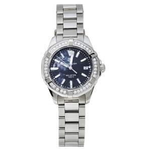 ساعة يد نسائية تاغ هيوير أكواريسر كوارتز WAY131N  ستانلس ستيل ألماس صدف سوداء 35مم