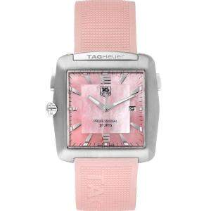 Tag Heuer Pink Mother of Pearl Stainless Steel Monaco Rubber WAE1114 Women's Wristwatch 36MM