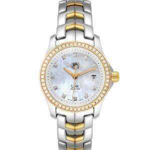Tag Heuer MOP Diamonds 18k Yellow Gold And Stainless Steel Link WJF1354 Women's Wristwatch 27 MM