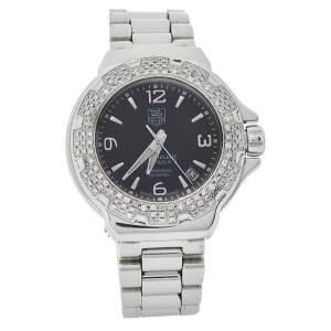 Tag Heuer Black Stainless Steel Diamond Formula 1 WAC1214.BA0852 Women's Wristwatch 35 mm