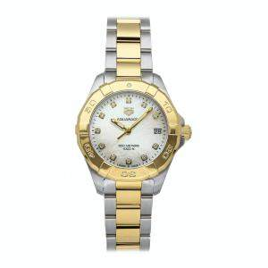 Tag Heuer MOP Diamonds Yellow Gold Plated And Stainless Steel Aquaracer 300m WBD1322.BB0320 Women's Wristwatch 32 MM