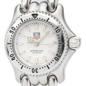 Tag Heuer White Stainless Steel WG1412 Professional Women's Wristwatch 24 MM