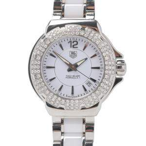 Tag Heuer White Diamonds Stainless Steel And Ceramic Formula 1 Women's Wristwatch 34 MM