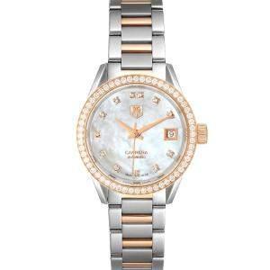 Tag Heuer MOP Diamonds 18K Rose Gold And Stainless Steel Carrera WAR2453 Women's Wristwatch 28 MM