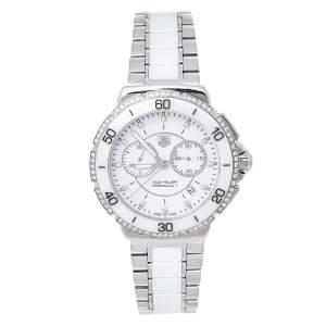 Tag Heuer White Stainless Steel & Ceramic Diamond Formula 1 CAH1213 Women's Wristwatch 41 mm