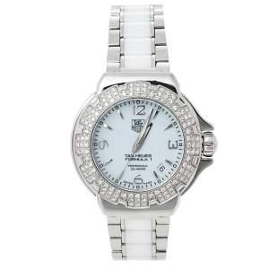 Tag Heuer White Stainless Steel & Ceramic Diamonds Formula 1 WAC1215-0 Women's Wristwatch 37 mm