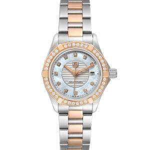 Tag Heuer MOP Diamonds 18K Rose Gold And Stainless Steel Aquaracer WAP1452 Women's Wristwatch 27 MM